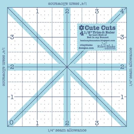 Lori Holt, Cute Cuts,Trim It Ruler Square 4-1/2in x 4-1/2in