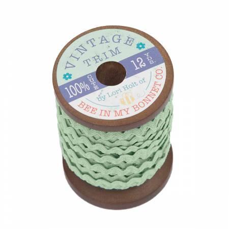 Small Vintage Trim Sweet Mint 12 yd Wooden Spool