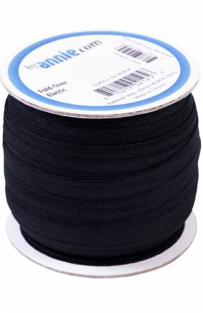 3/4 Fold-over Elastic by the yard/Black (byAnnie)