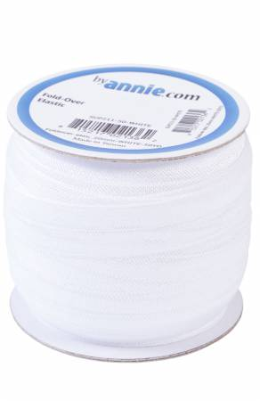 Fold-over Elastic 3/4in x 50yd White