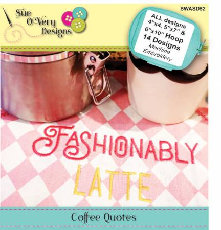 Pattern Machine Embroidery Coffee Quotes CD