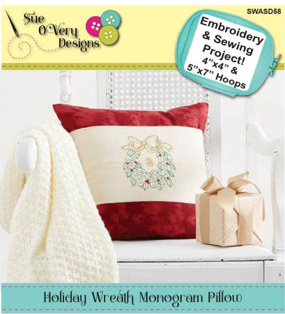 CD Holiday Wreath Monogram Pillow Machine Emb