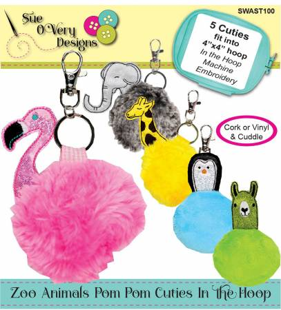 Zoo Animal Pom Pom Cuties In the Hoop
