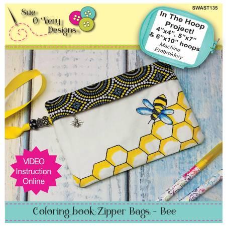 Bee Coloring Book Zipper Bag In the Hoop