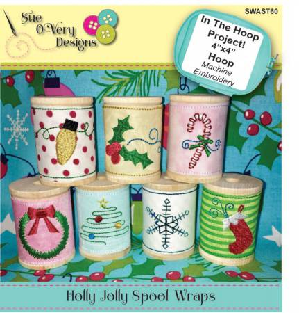 CD Holly Jolly Spool Wraps In the Hoop