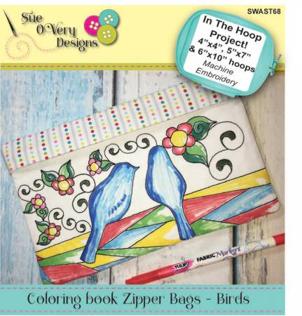CD Coloring Book Zipper Pouch In the Hoop - Birds