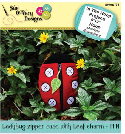 CD Ladybug Zipper Case with Leaf Charm - ITH