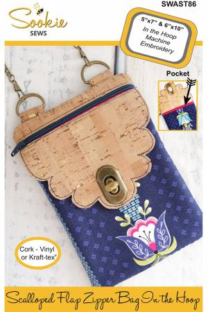 Scalloped Flap Cross Body Zipper Bag Machine Embroidery CD