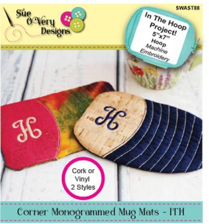 Corner Monogrammed Mug Mats - ITH