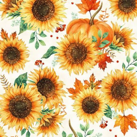 Hoffman Harvest Sunflowers & Pumpkins w/Gold Metallic