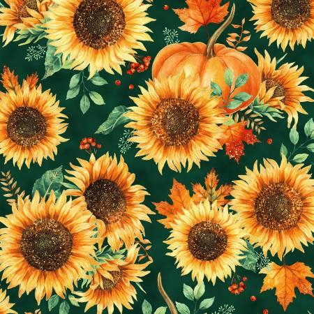 Autumn Is In The Air - Sunflowers & Pumpkins w/Gold Metallic Emerald