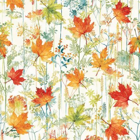 Autumn is in the Air Harvest Leaf Stripe w/Gold Metallic