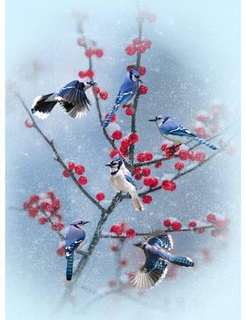 Hoffman - Winter's Wings-METALLIC - BlueJays-PANEL - 4870H-261 - C-8