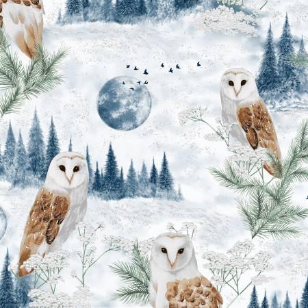 Perch - Owls - T7740H-D7S  Dusty Blue w/Silver Metallic
