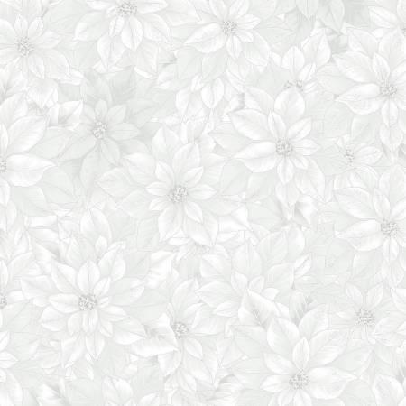 T7749-3S White Poinsettia w/Silver Metallic