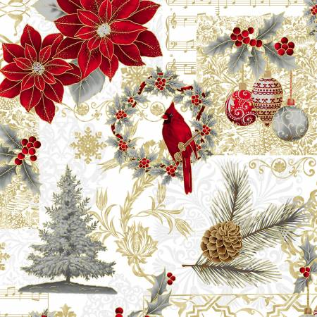 Joyful Traditions - Silver Poinsettia, Cardinal & Ornaments w/Gold Metallic