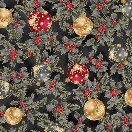 Dark Grey Ornaments w/Gold Metallic