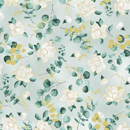 Home Sweet Home - Sage Flowers w/Gold Metallic