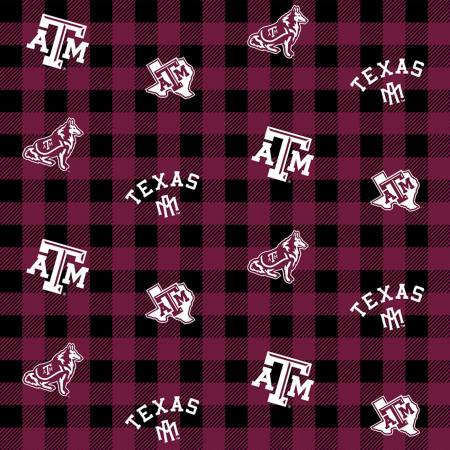 NCAA-Texas A&M Aggies Buffalo Plaid Cotton TAM 1207