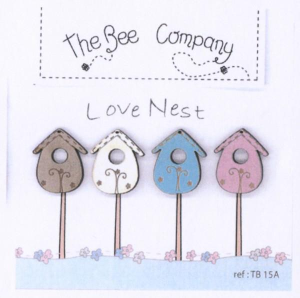 4 Assorted Birdhouses Buttons