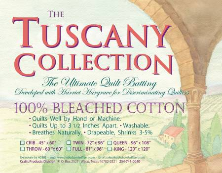 Batting Tuscany Bleached Cotton 72in x 96in Twin