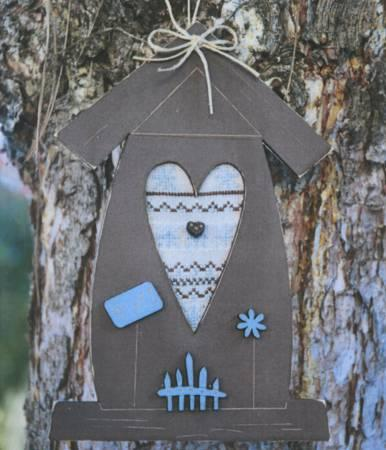 Fall Brown Birdhouse Cross Stitch Pattern W/Buttons
