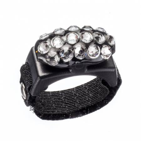 Thread Cutterz Black Ring With 3 Rows of Swarovski Crystals