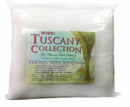 Tuscany 20% Wool 80% Cotton Batting Twin 72in X 96in