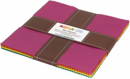 10in Squares Berry Season Kona Solid Coordinates, 42pcs/bundle