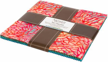 10in Squares Coral Reef Batik, 42pcs/bundle