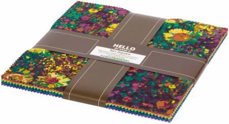 10in Squares Painterly Petals, 42pcs/bundle