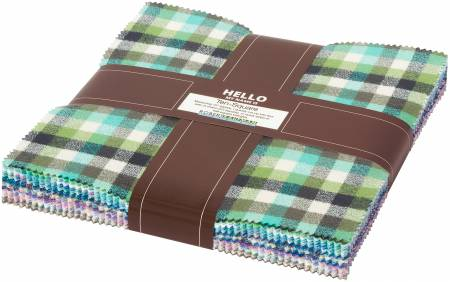 10in Squares Mammoth Junior Flannel, Cool, 42pcs/bundle