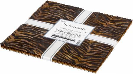 10in Squares Serengeti Batik, 42pcs/bundle