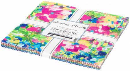 10 Squares, Painterly Petals, 42pcs/bundle