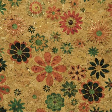 Natural with Groovy Flowers Cork Fabric 25in Wide