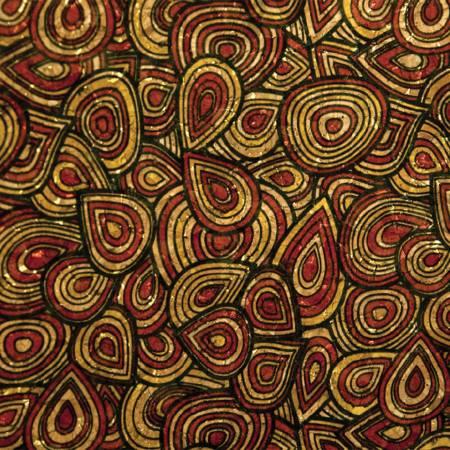 Brick/Black Teardrops Cork Fabric 25in Wide