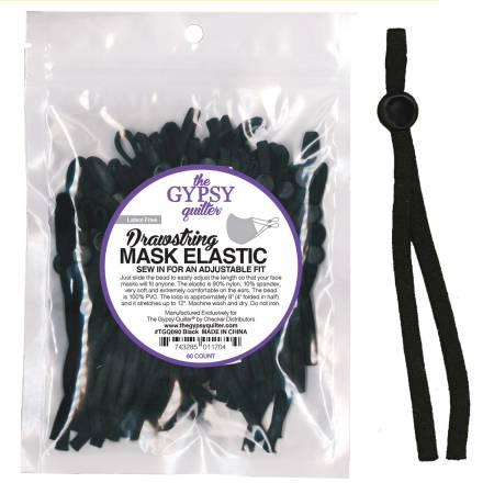 Drawstring Mask Elastic Singles - Black 8in