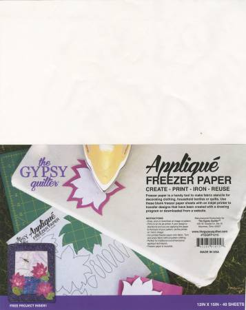 Gypsy Quilter Freezer Paper 12in x 15in 40ct