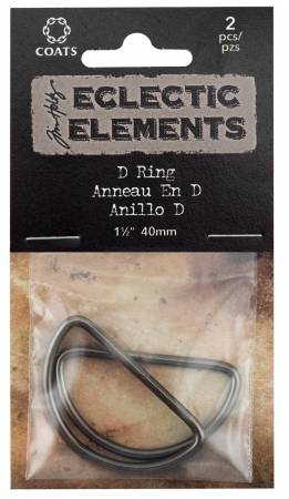 Tim Holtz D Ring 40mm 1.5 Gun Metal
