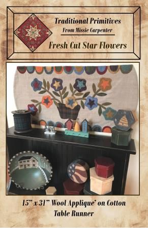 Fresh Cut Star Flowers Wool Applique