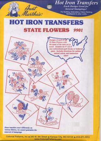 Aunt Martha's Hot Iron Transfer Pattern Collection State Flowers