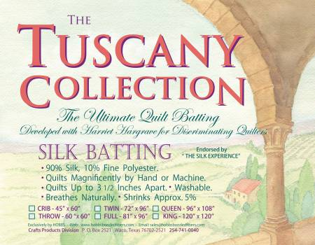 Batting Tuscany Silk Polyester Blend 96in x 108in Queen