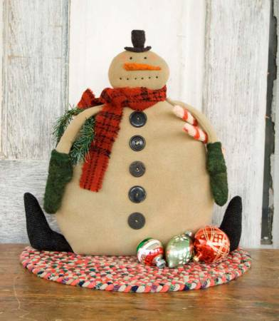 Candy Cane Snowman Cloth Doll