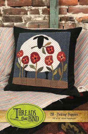 Picking Poppies Wool Applique Pattern