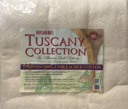 Tuscany Supreme 100% Natural Cotton Batting Twin 72in x 96in