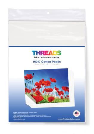 Cotton Poplin Inkjet Fabric 8 1/2in x 11in 6 sheets