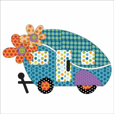 Road Trip Fabric Appliqué Retro - Dotz UEA-1152 10.75in x 7in Urban Elementz