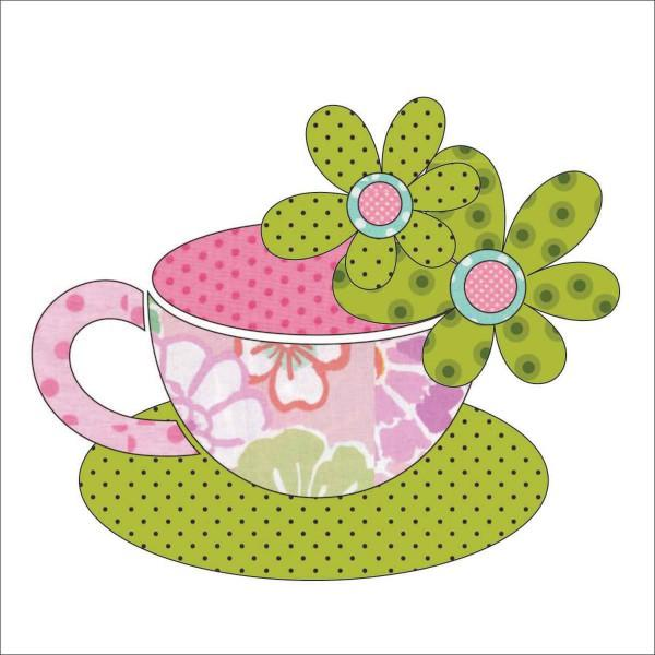 Tea Party - Tea Cups - Pink Fabric Appliqu� 7.25 x 6.25