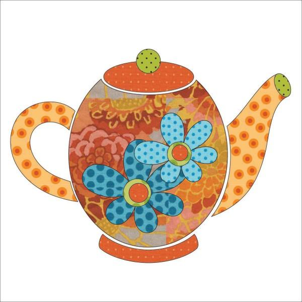 Tea Party - Tea Pots - Orange Fabric Appliqu� 9.5 x 7.25