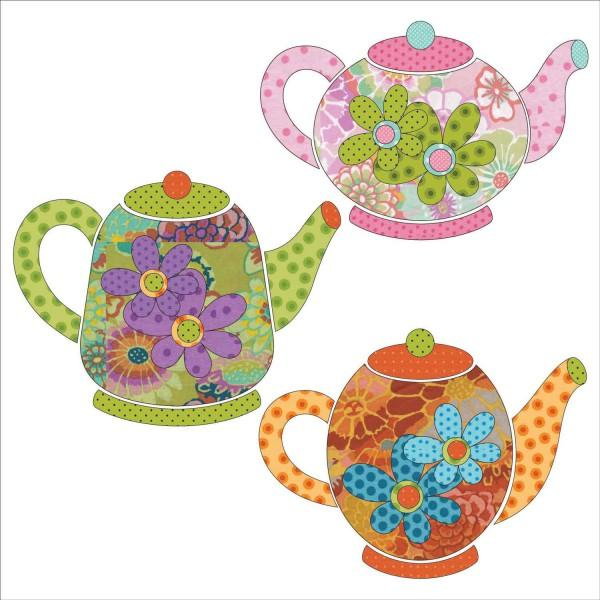 Tea Party - Tea Pots - SET UEA-1165-S Fabric Appliqué 9.5 to 7.25 Urban Elementz